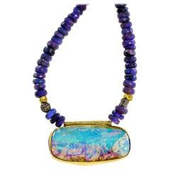 Black Opal Beads Boulder Opal Pendant 22 Karat Gold 18 Karat Gold