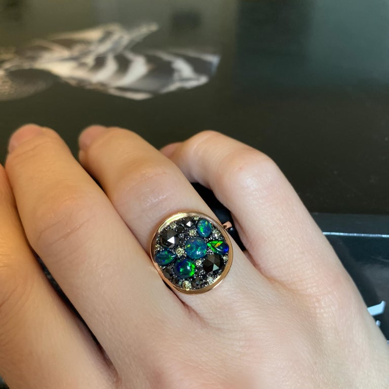 Black Opal Black Diamond Cocktail Ring For Sale 6