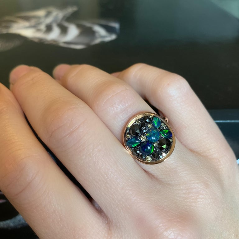 Black Opal Black Diamond Cocktail Ring For Sale 7