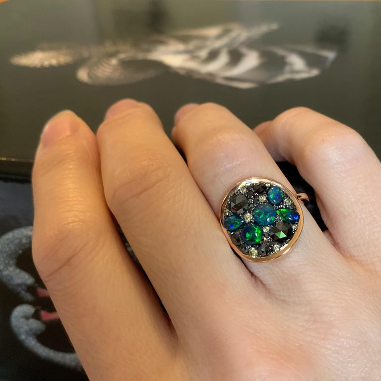 Black Opal Black Diamond Cocktail Ring For Sale 8
