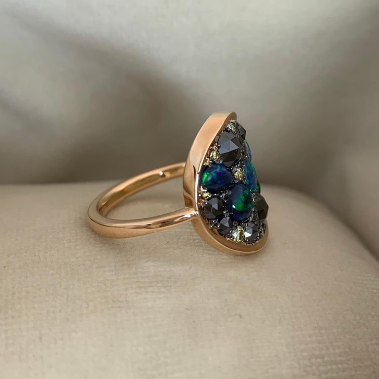 Rose Cut Black Opal Black Diamond Cocktail Ring For Sale