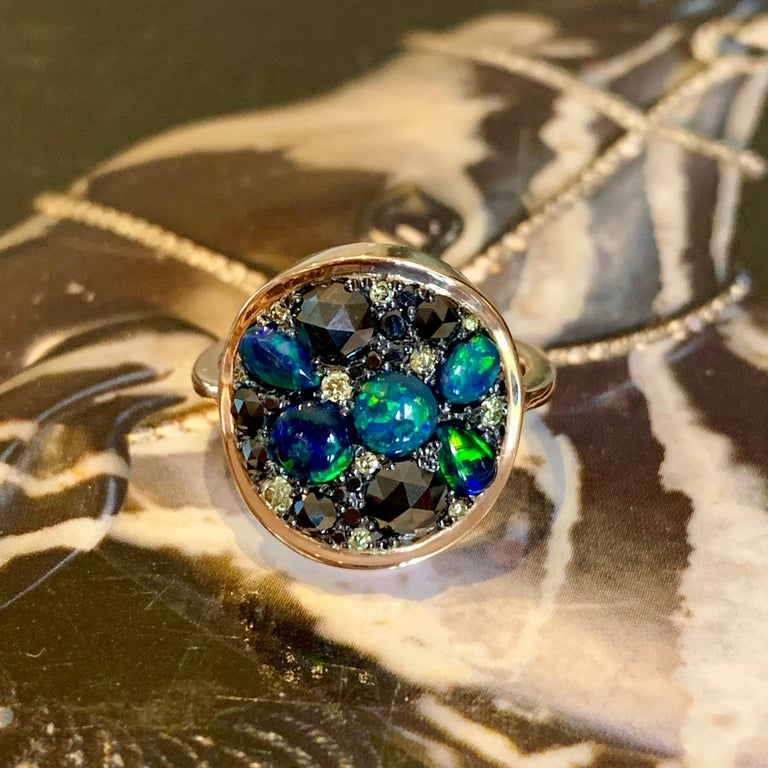 Black Opal Black Diamond Cocktail Ring In New Condition For Sale In Antwerp, BE