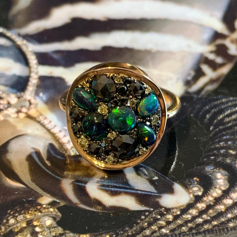 Black Opal Black Diamond Cocktail Ring For Sale 1