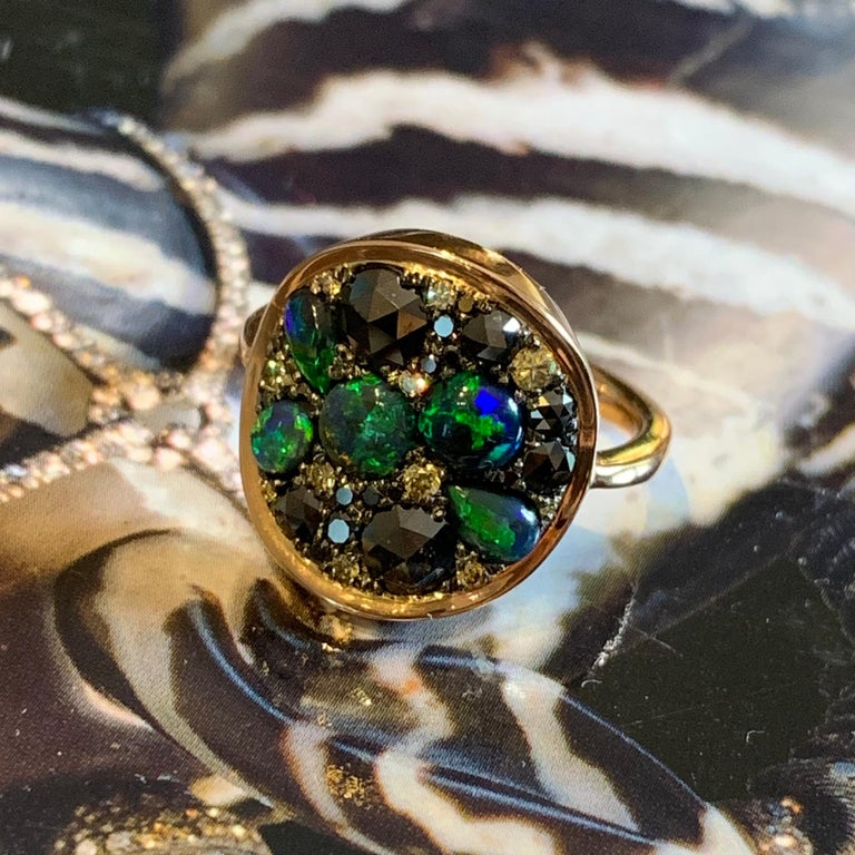 Black Opal Black Diamond Cocktail Ring For Sale 3