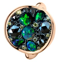 Black Opal Black Diamond Cocktail Ring
