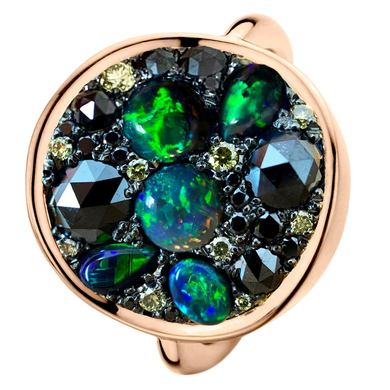 Black Opal Black Diamond Cocktail Ring For Sale