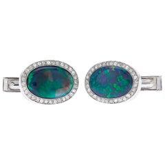 Black Opal Cufflinks, 7.00 Carat
