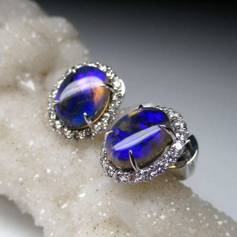 Art Deco Black Opal Diamond 14k White Gold Stud Earrings with Diamonds Unisex Classic Art For Sale