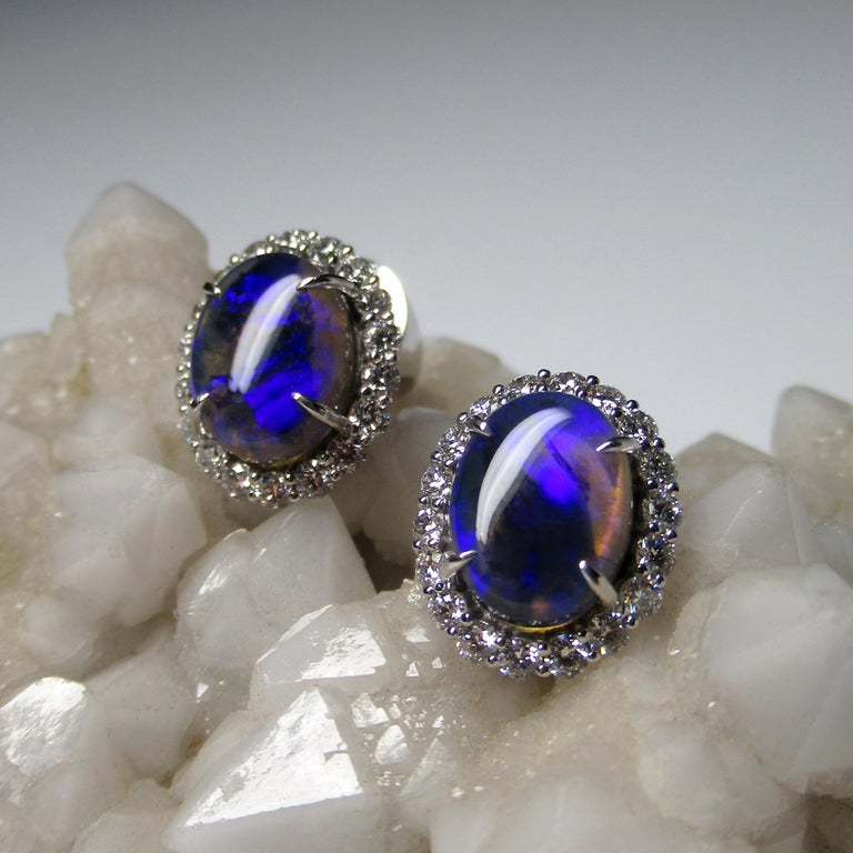 Women's or Men's Black Opal Diamond 14k White Gold Stud Earrings with Diamonds Unisex Classic Art For Sale