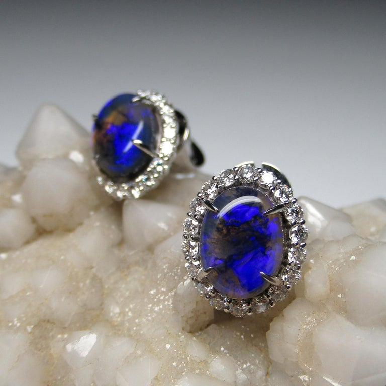 Black Opal Diamond 14k White Gold Stud Earrings with Diamonds Unisex Classic Art For Sale 3