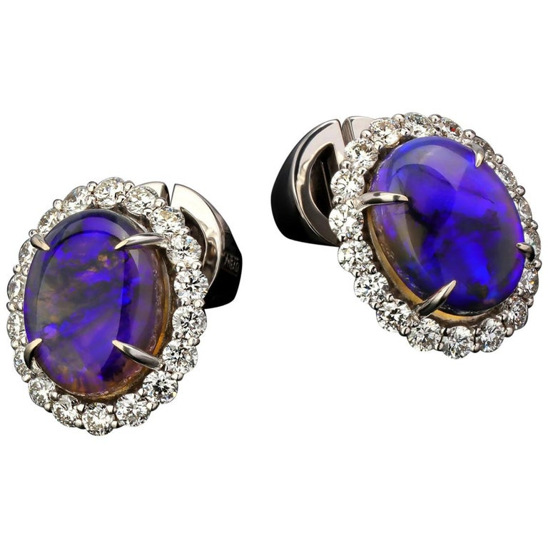 Black Opal Diamond 14k White Gold Stud Earrings with Diamonds Unisex Classic Art For Sale