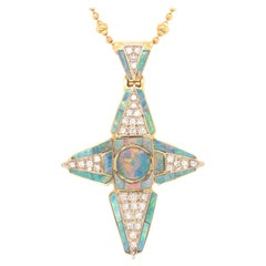 Black Opal & Diamond 18k Yellow Gold Cross Pendant & Necklace