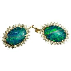Black Opal Diamond Earrings 14 Karat Yellow Gold