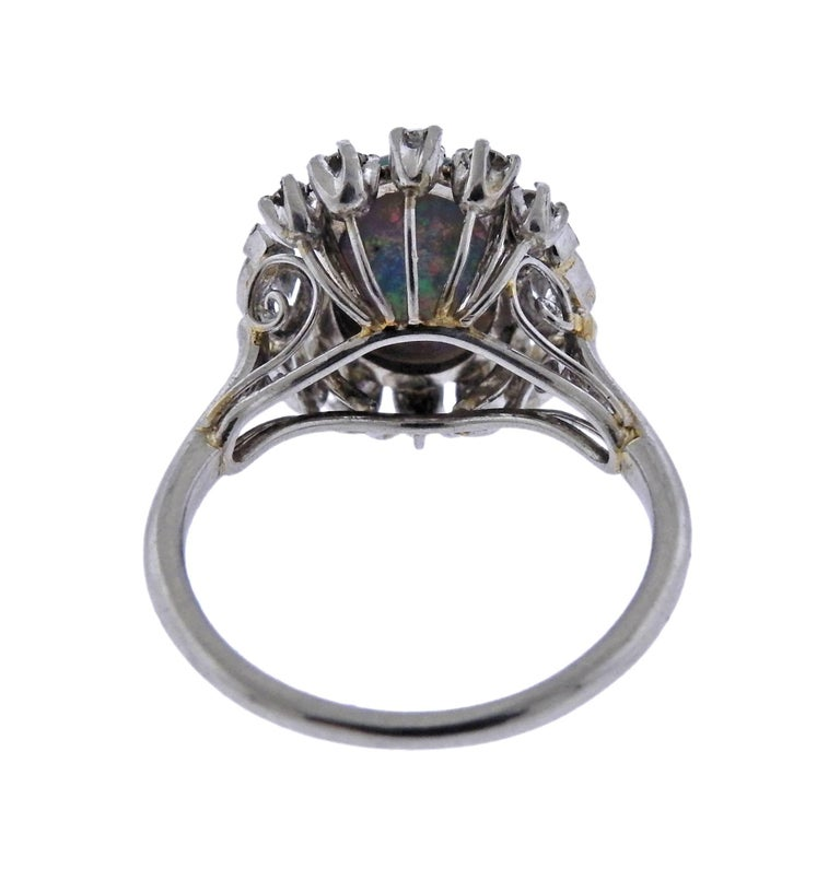 Black Opal Diamond Platinum Ring For Sale at 1stdibs