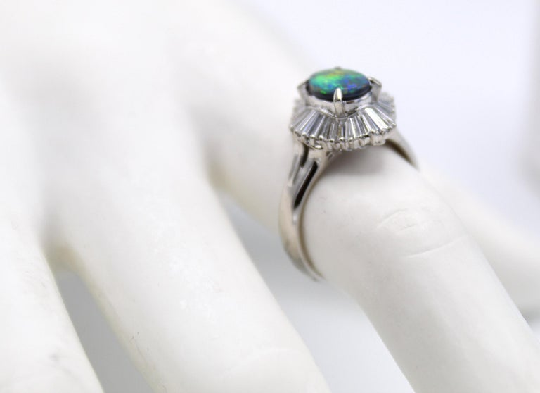 Oval Cut Black Opal Diamond Platinum Ring For Sale