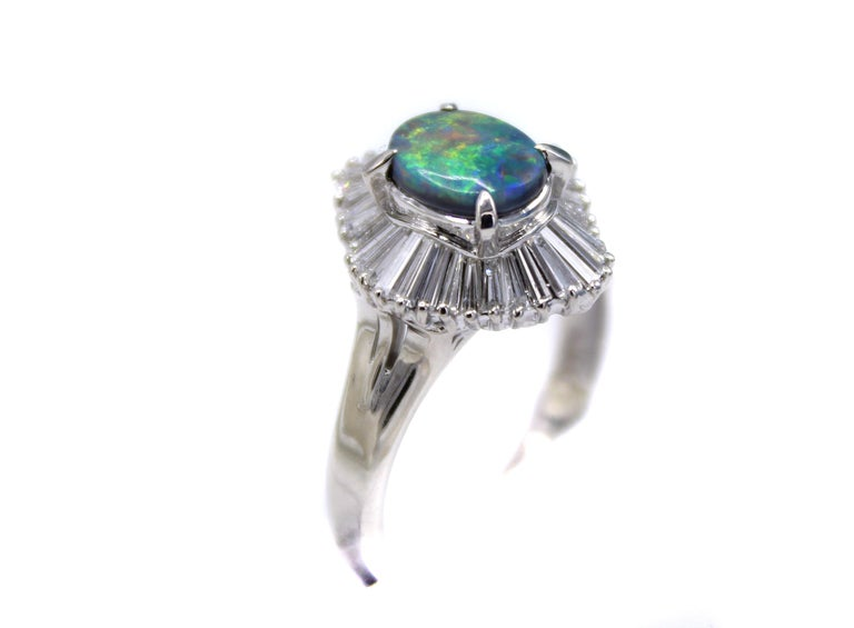 Black Opal Diamond Platinum Ring In Excellent Condition For Sale In New York, NY
