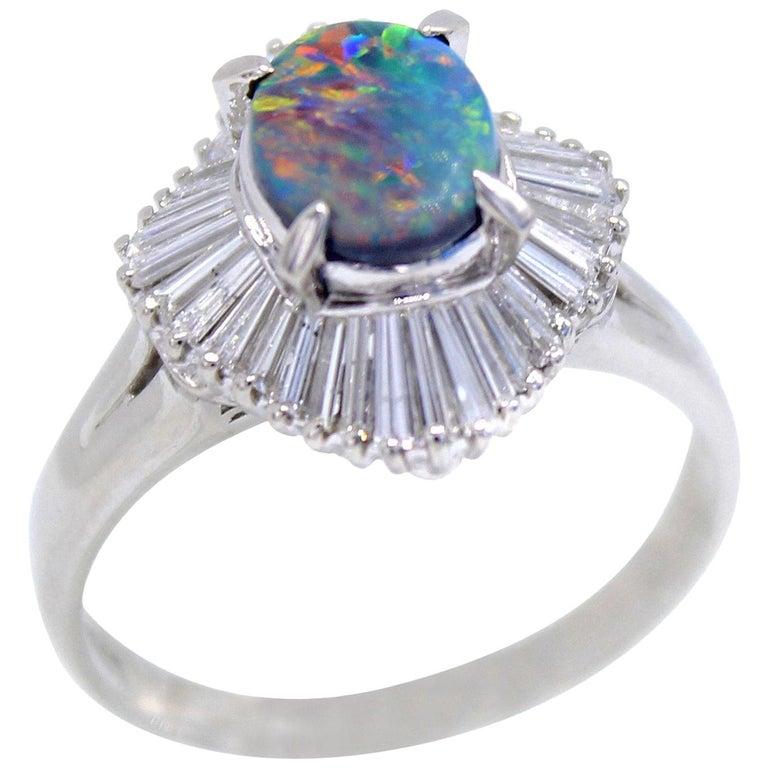 Black Opal Diamond Platinum Ring For Sale