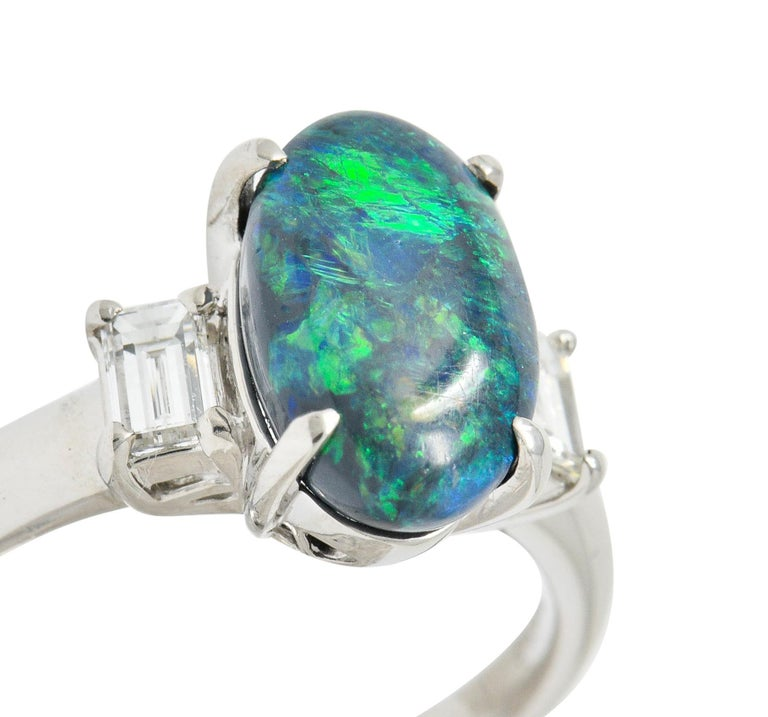 Black Opal Diamond Platinum Three-Stone Ring For Sale 4