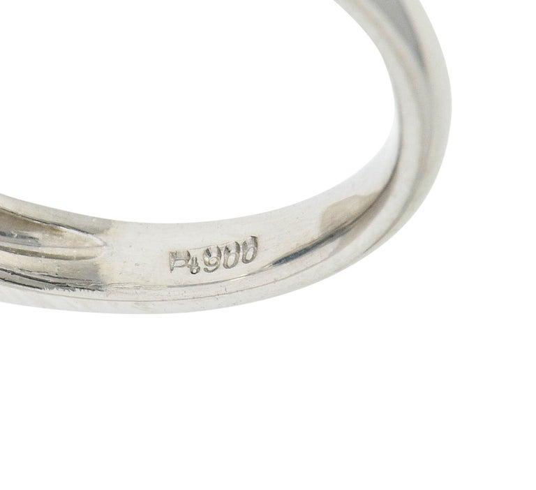 Black Opal Diamond Platinum Three-Stone Ring For Sale 6