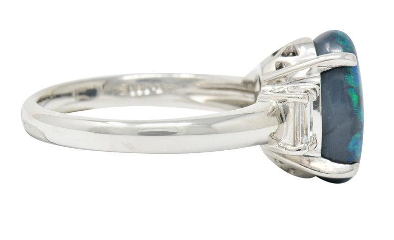 Contemporary Black Opal Diamond Platinum Three-Stone Ring For Sale