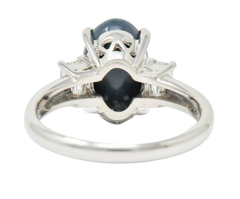 Cabochon Black Opal Diamond Platinum Three-Stone Ring For Sale
