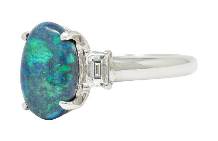 Women's or Men's Black Opal Diamond Platinum Three-Stone Ring For Sale
