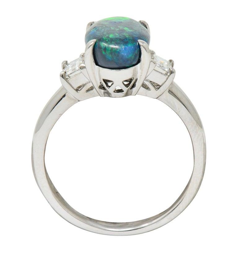 Black Opal Diamond Platinum Three-Stone Ring For Sale 1