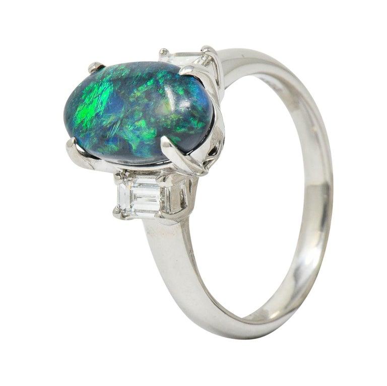 Black Opal Diamond Platinum Three-Stone Ring For Sale 2