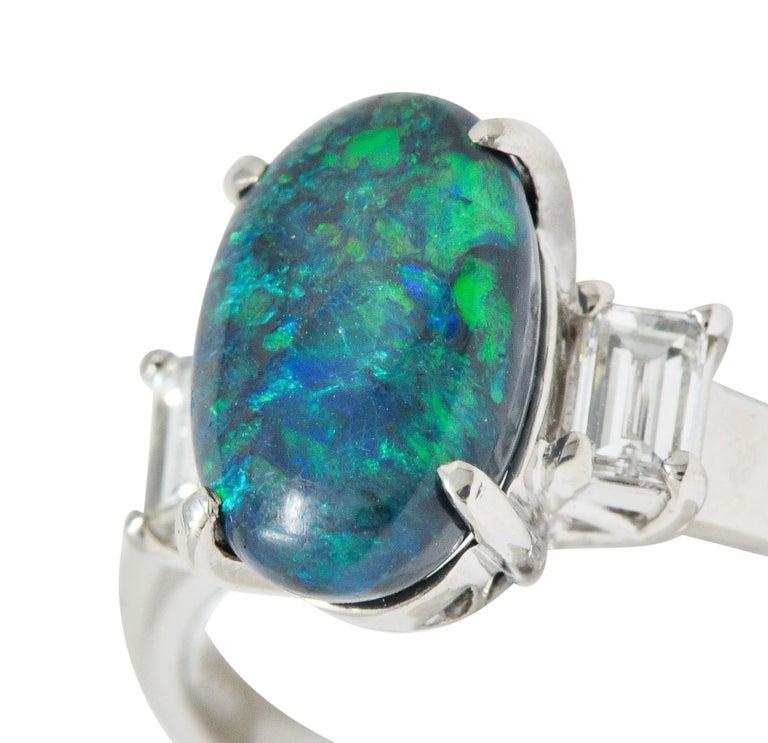 Black Opal Diamond Platinum Three-Stone Ring For Sale 3