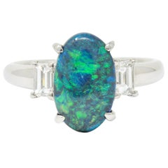 Black Opal Diamond Platinum Three-Stone Ring