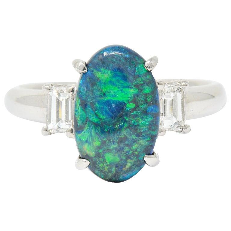 Black Opal Diamond Platinum Three-Stone Ring For Sale