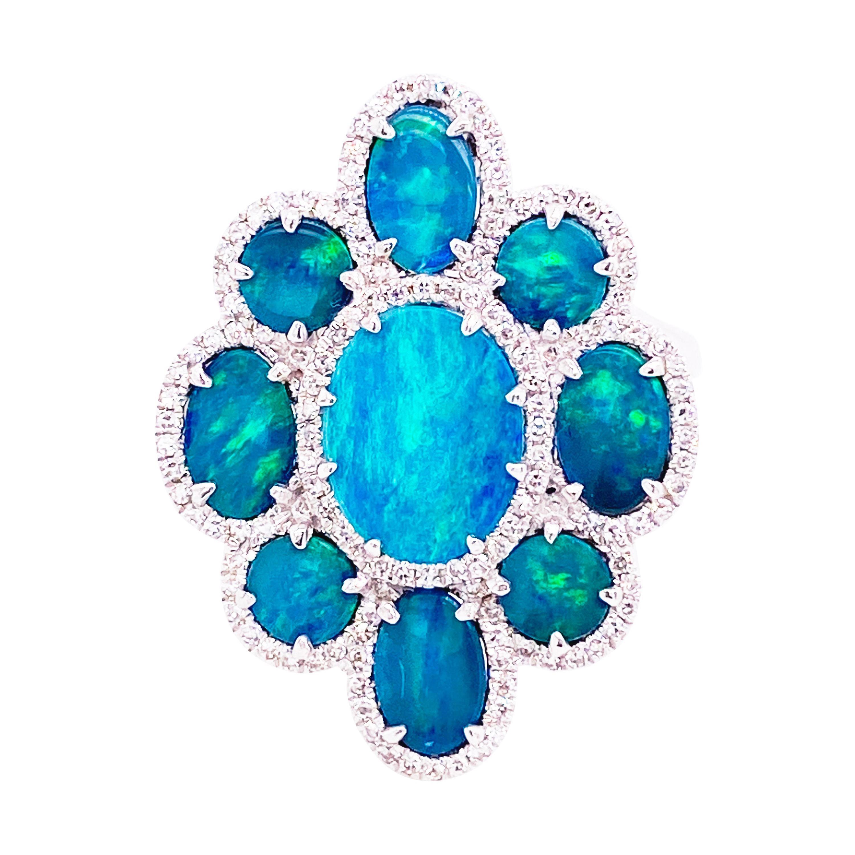 Black Opal Diamond Ring, 18k White Gold, Blue Green Opal w Diamond Halo Ring
