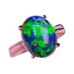 Black Opal Diamond Ring 18k White Gold