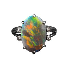 Black Opal & Diamond Ring Certified Untreated Lightning Ridge Art Deco