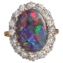 Black Opal & Diamond Ring from England Certified Untreated Australian