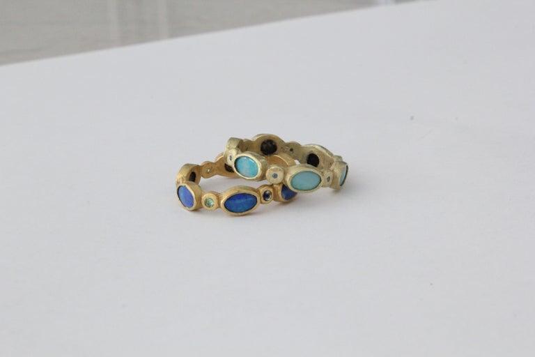 Black Opal Diamond Tsavorite 18K Gold Band Fashion Ring For Sale 5