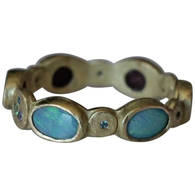 Contemporary Black Opal Diamond Tsavorite 18K Gold Band Fashion Ring For Sale