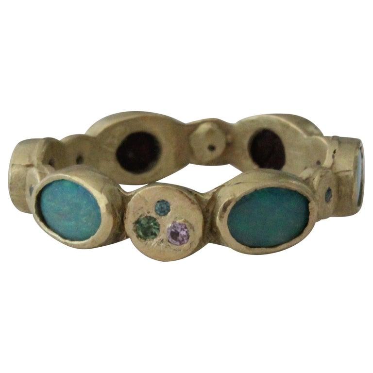 Black Opal Diamond Tsavorite 18K Gold Band Fashion Ring For Sale