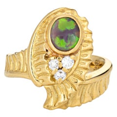 Black Opal Diamond Vintage Ring 18k Yellow Gold Estate Fine Jewelry
