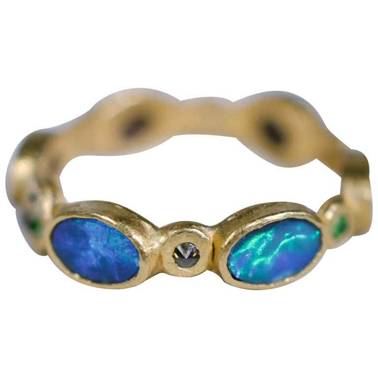 Black Opal Diamonds and Sapphires 22 Karat Gold Band Fashion Ring For Sale