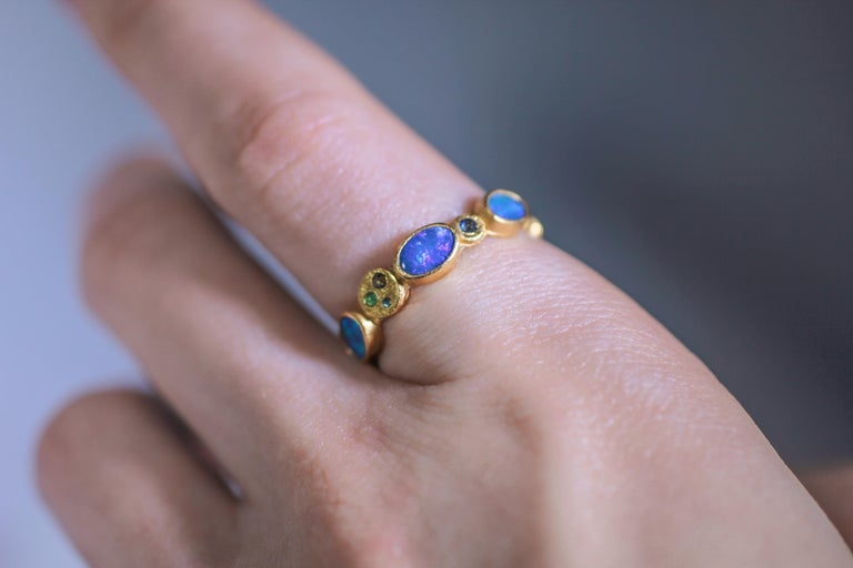 Black Opal Diamonds and Sapphires 22 Karat Gold Band Fashion Ring For Sale 4