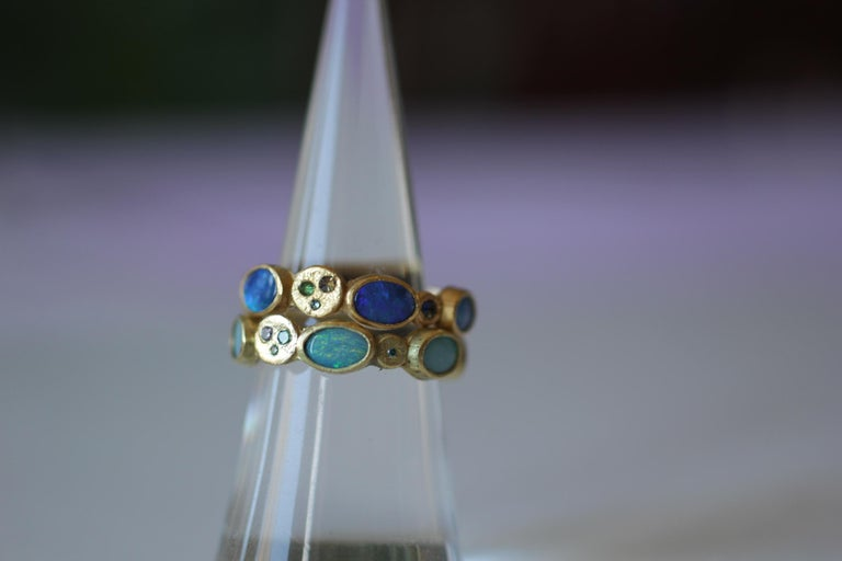 Black Opal Diamonds and Sapphires 22K Gold Band Fashion Ring For Sale 5