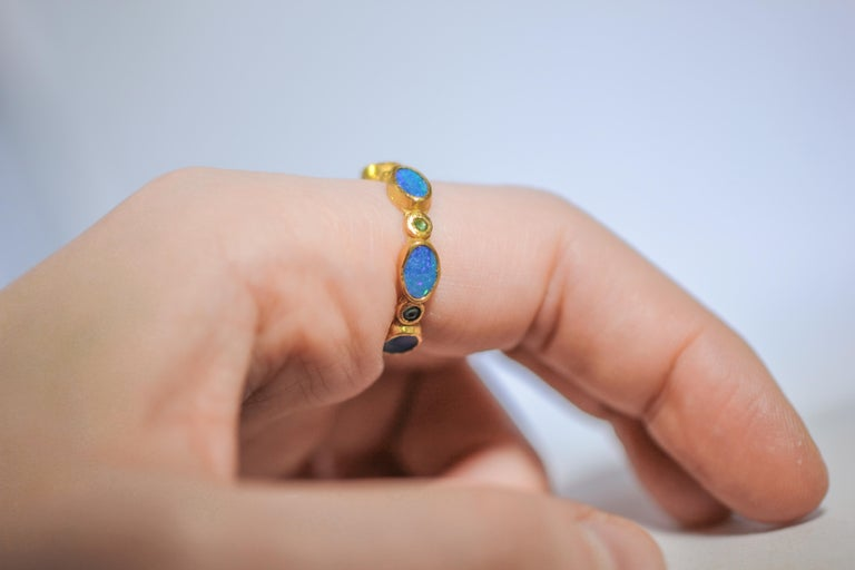 Black Opal Diamonds and Sapphires 22 Karat Gold Band Fashion Ring For Sale 5