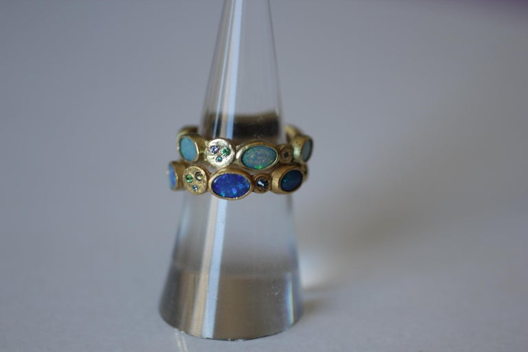 Black Opal Diamonds and Sapphires 22K Gold Band Fashion Ring For Sale 10