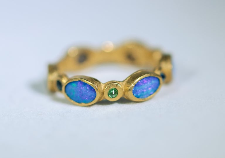 Contemporary Black Opal Diamonds and Sapphires 22 Karat Gold Band Fashion Ring For Sale