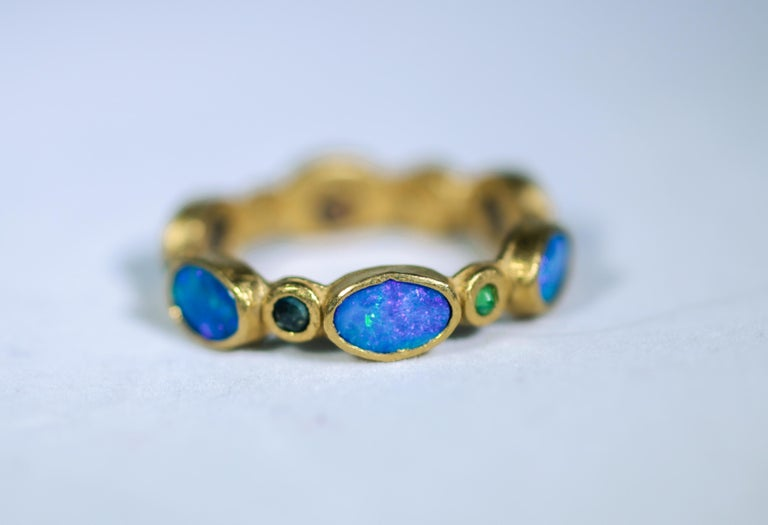 Oval Cut Black Opal Diamonds and Sapphires 22 Karat Gold Band Fashion Ring For Sale