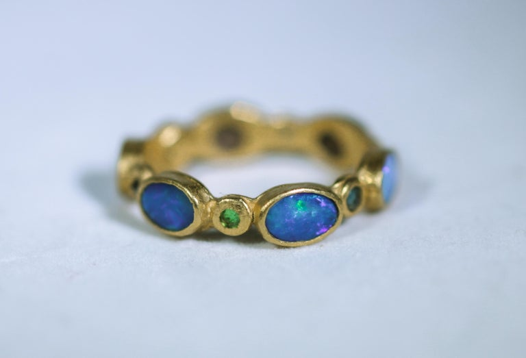 Black Opal Diamonds and Sapphires 22 Karat Gold Band Fashion Ring In New Condition For Sale In New York, NY
