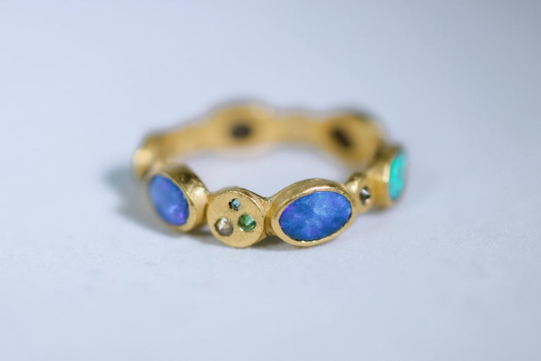 Black Opal Diamonds and Sapphires 22 Karat Gold Band Fashion Ring For Sale 1