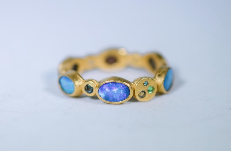 Black Opal Diamonds and Sapphires 22 Karat Gold Band Fashion Ring For Sale 2