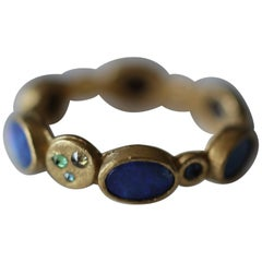 Black Opal Diamonds and Sapphires 22K Gold Band Fashion Ring